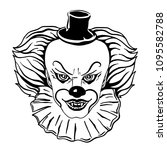 face of a scary clown in a hat... | Shutterstock .eps vector #1095582788