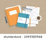 business wooden table with... | Shutterstock .eps vector #1095585968