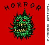angry green prickly ghost.... | Shutterstock .eps vector #1095595952