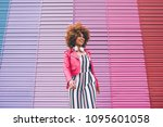 mixed race woman in a... | Shutterstock . vector #1095601058