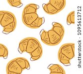 croissant hand drawn seamless... | Shutterstock .eps vector #1095613712