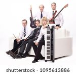 stylish band with instruments... | Shutterstock . vector #1095613886