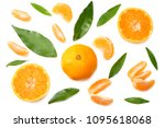 mandarin with slices and green... | Shutterstock . vector #1095618068