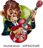 monkey playing electric guitar     Shutterstock .eps vector #1095624185