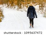 Woman In Winter On Snow Road ...