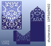 die laser cut wedding card... | Shutterstock .eps vector #1095669602