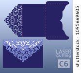 die laser cut wedding card... | Shutterstock .eps vector #1095669605