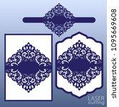 laser cut wedding invitation... | Shutterstock .eps vector #1095669608