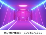 abstract sci fi hall space with ... | Shutterstock . vector #1095671132