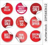 sale stickers and tags red... | Shutterstock .eps vector #1095683612