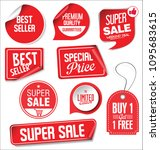 sale stickers and tags red... | Shutterstock .eps vector #1095683615