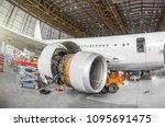 passenger aircraft on... | Shutterstock . vector #1095691475