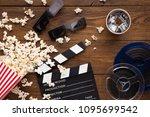 cinema background  top view.... | Shutterstock . vector #1095699542