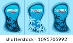 set of summer time banners with ... | Shutterstock .eps vector #1095705992