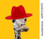 concept giraffe wearing red hat | Shutterstock . vector #1095715475