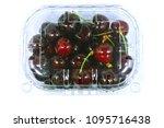 sweet cherries in the plastic...   Shutterstock . vector #1095716438