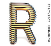 orange yellow letter r in metal ... | Shutterstock . vector #1095717536