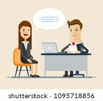 woman having a job interview... | Shutterstock .eps vector #1095718856