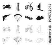 hang glider  parachute  racing... | Shutterstock .eps vector #1095719042