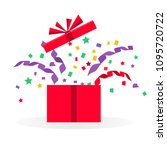 open gift with serpentine and... | Shutterstock .eps vector #1095720722