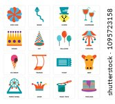 set of 16 simple editable icons ...   Shutterstock .eps vector #1095723158