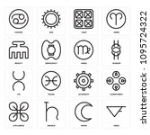 set of 16 simple editable icons ... | Shutterstock .eps vector #1095724322