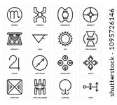set of 16 simple editable icons ... | Shutterstock .eps vector #1095726146