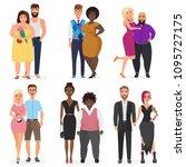 vector atypical weird couples... | Shutterstock .eps vector #1095727175