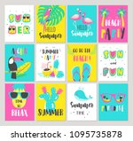 set of summer holiday cards.... | Shutterstock .eps vector #1095735878