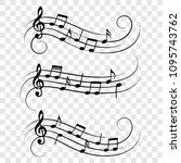 set of music notes  music... | Shutterstock .eps vector #1095743762
