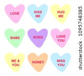candy hearts with romantic... | Shutterstock .eps vector #1095748385