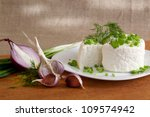 cottage cheese with greens and... | Shutterstock . vector #109574942