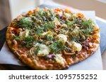 beautiful vegan pizza | Shutterstock . vector #1095755252