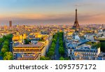 skyline of paris with eiffel... | Shutterstock . vector #1095757172