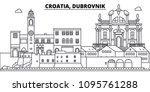 croatia  dubrovnik line skyline ... | Shutterstock .eps vector #1095761288