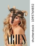 Small photo of Astrology. Aries Zodiac Sign. Beautiful woman with horns