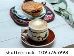 delicious breakfast coffee...   Shutterstock . vector #1095765998