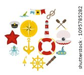 nautical icons set in flat... | Shutterstock .eps vector #1095785282