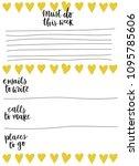 hand drawn weekly list...   Shutterstock .eps vector #1095785606