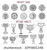 vintage collection with ancient ... | Shutterstock . vector #1095801248