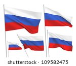 russia vector flags set. 5 wavy ... | Shutterstock .eps vector #109582475