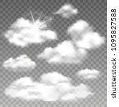 set of realistic cumulus clouds....   Shutterstock .eps vector #1095827588