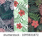 set of three seamless floral...   Shutterstock .eps vector #1095831872