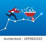 businessman pushing a trolley... | Shutterstock .eps vector #1095832322