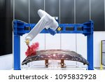 robotic arm painting spray to... | Shutterstock . vector #1095832928
