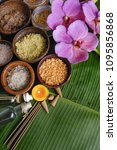 different salt in wooden bowl... | Shutterstock . vector #1095856868