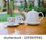 white set of english tea pot on ... | Shutterstock . vector #1095859982