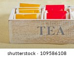 yellow and red tea bags in a... | Shutterstock . vector #109586108