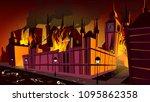 london in fire of plague...   Shutterstock .eps vector #1095862358