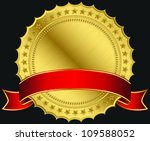 golden blank label with red... | Shutterstock .eps vector #109588052